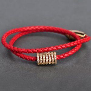 Кожаный браслет Красная Нить