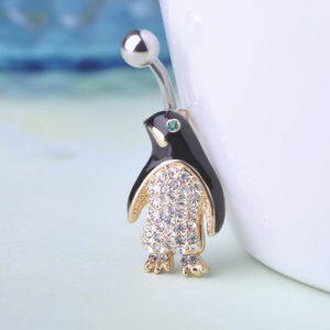 Пирсинг пингвин с кристаллами