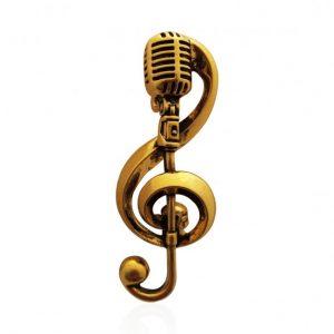 Брошь Золотой Микрофон