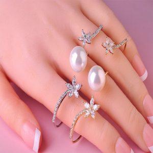 Кольцо на три пальца Pearl shine