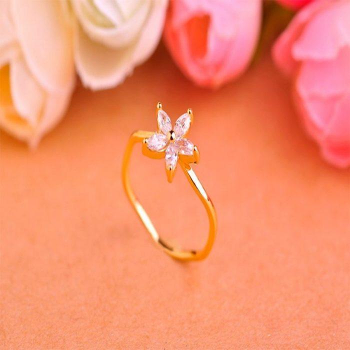 Кольцо с цветком Flower Zirconia