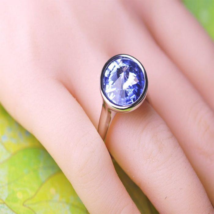 Кольцо Синий сапфир