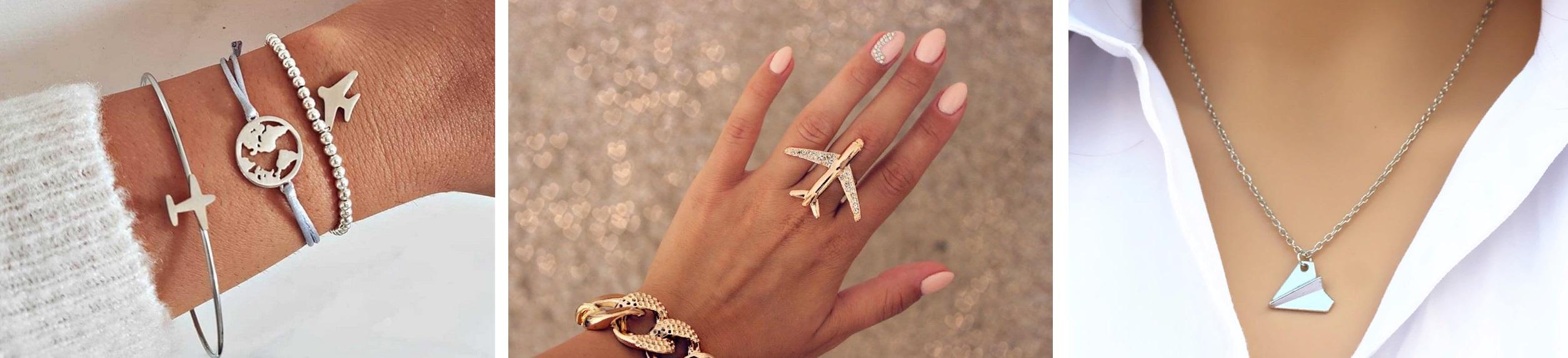 броши, серьги, колье, кольца, браслеты самолётики