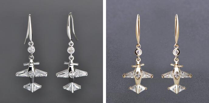 Родиевые или позолоченные серьги в виде самолёта. Декор из круглых, овальных и треугольных крупных страз