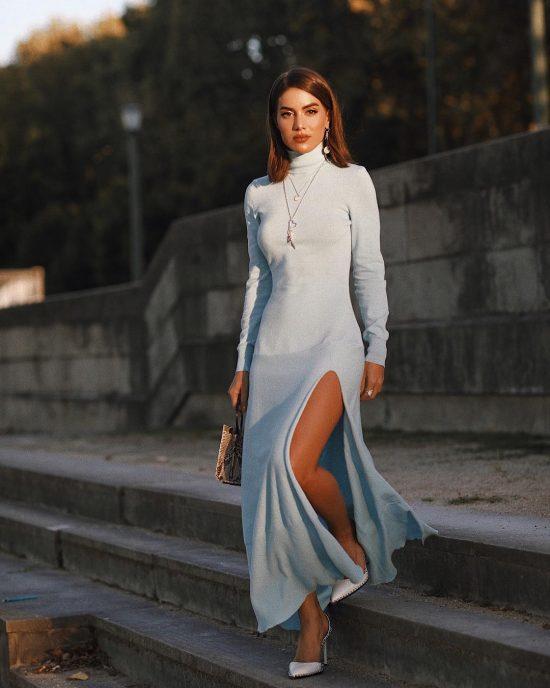 Актуальное тепло. Фасоны трикотажных платьев этого сезона и украшения к ним
