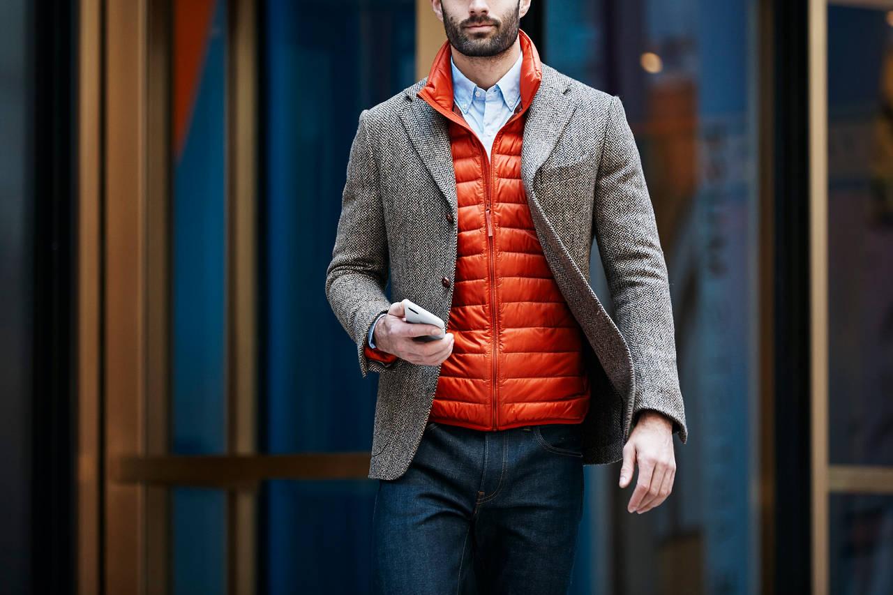 стёганый жилет с классическим пиджаком