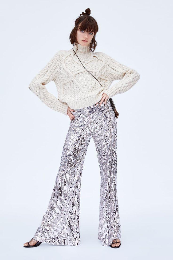 Во всём блеске. Шик, блеск, красота... Купить брюки из блестящей или со сверкающим декором ткани можно в ZARA