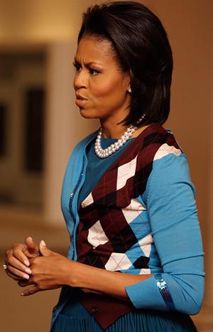 Мишель Обама в клетчатом луке
