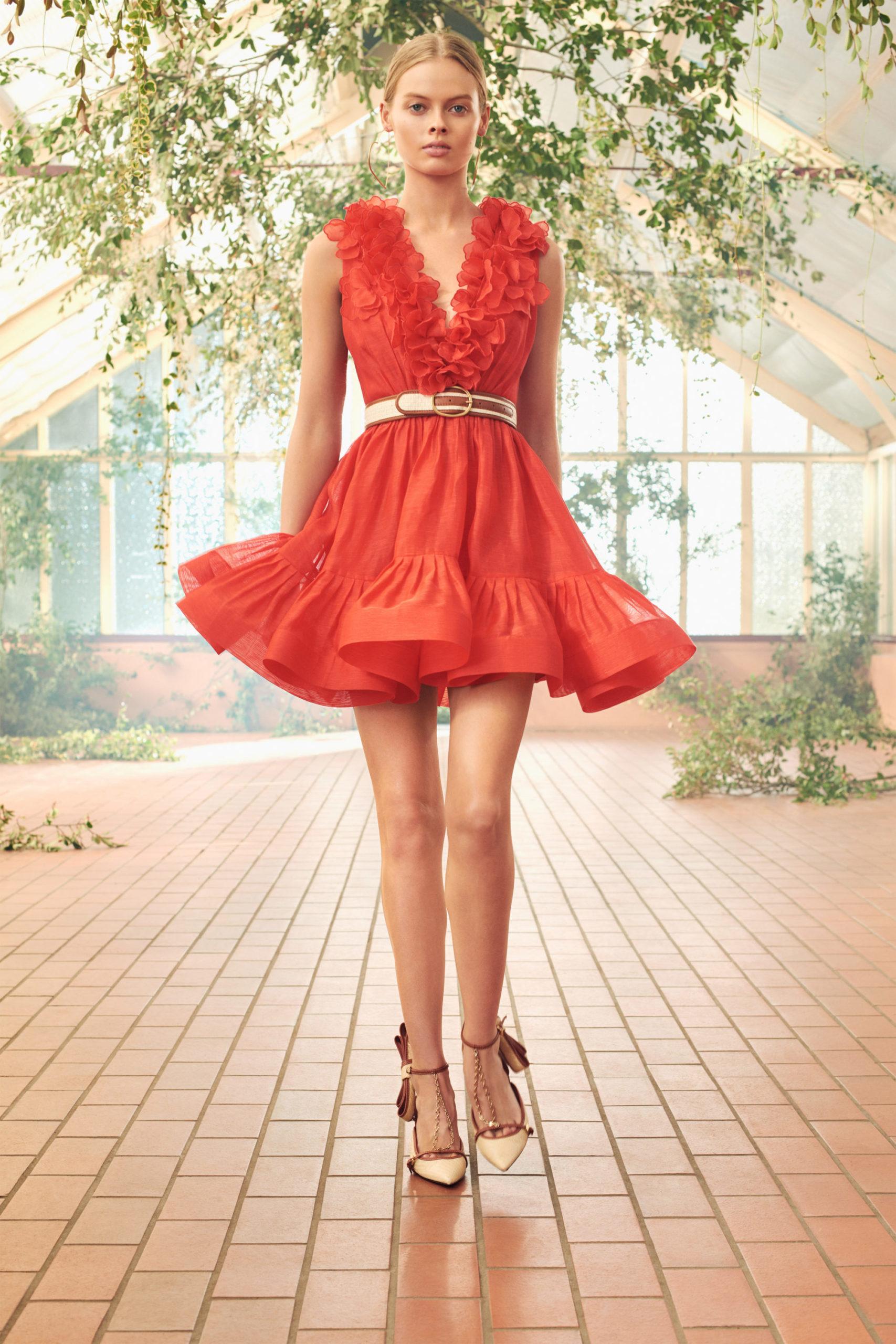 Платье с расклешённой статичной юбкой, платье выпускницы от Zimmermann