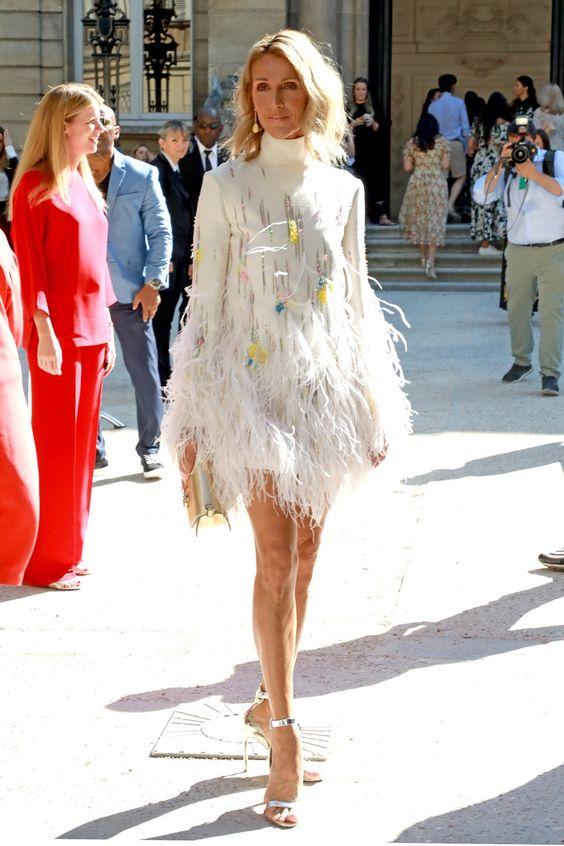 Селин Дион (Céline Dion) в платье с бахромой от Валентино