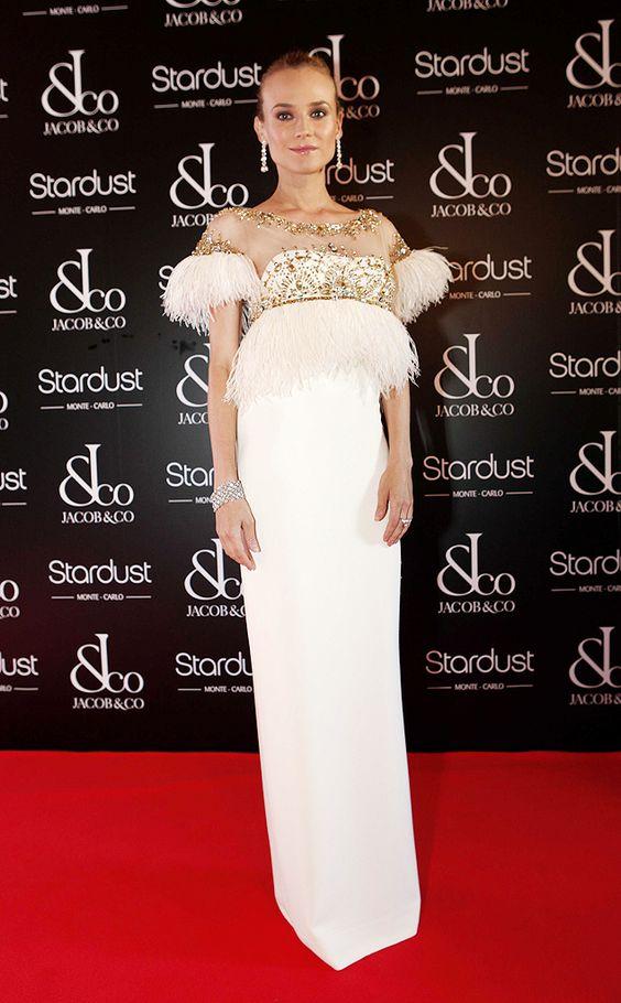 Дайан Крюгер (Diane Kruger) в платье с бахромой от Marchesa