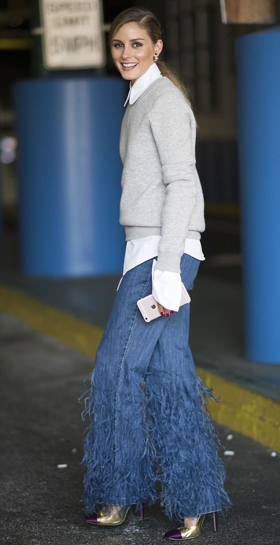 Оливия Палермо (Olivia Palermo) в джинсах с бахромой