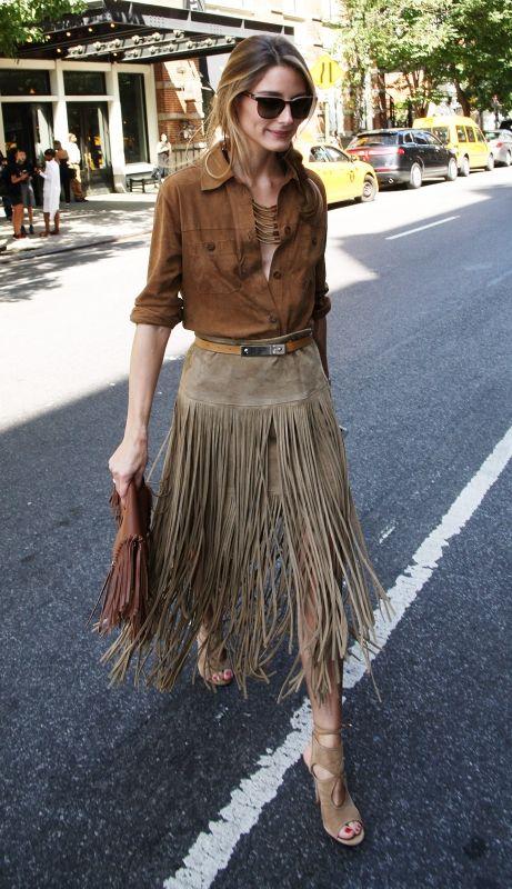 Оливия Палермо (Olivia Palermo) в юбке с бахромой