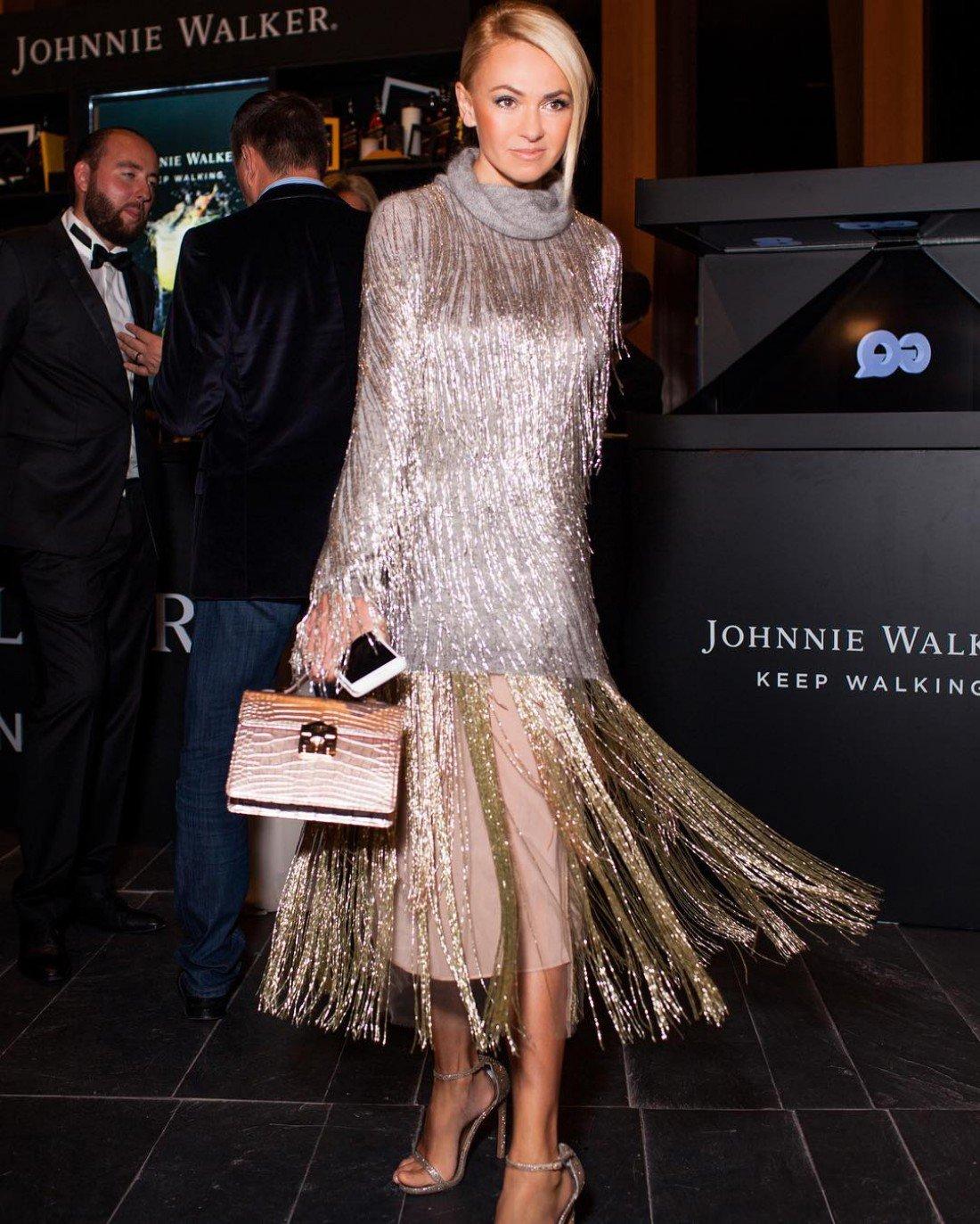 Яна Рудковская в платье с бахромой