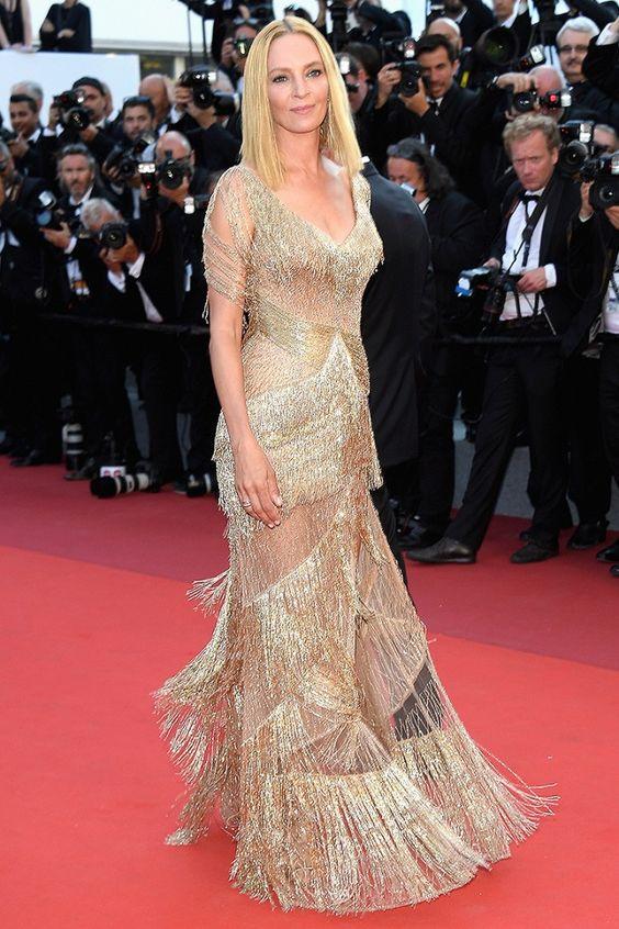 Ума Турман (Uma Thurman) в платье с бахромой