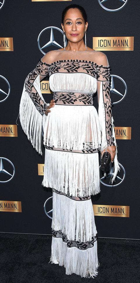 Трэйси Эллис Росс (Tracee Ellis Ross) в платье с бахромой от Yanina Couture