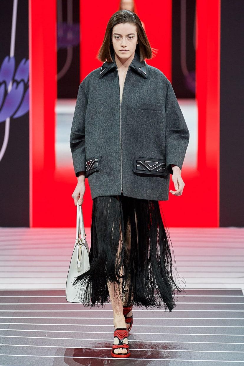 Платье с бахромой от Prada