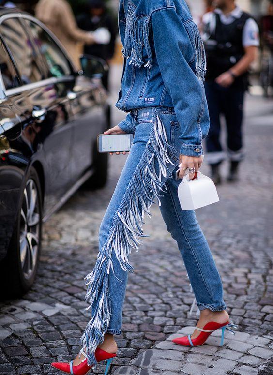 Street Style - джинсовый костюм с бахромой